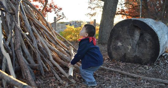 Boy plays in The Woods of Discovery Hollow