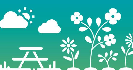 Summer graphic of a picnic table and flowers under the sun and clouds