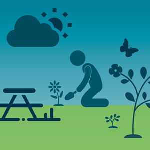 Summerlands graphic showing people planting, a picnic table and flowers.