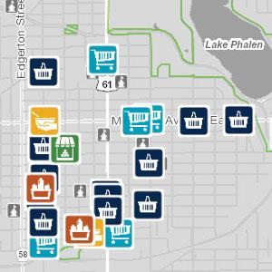 Screen capture of food resource map