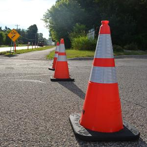 Row of construction cones