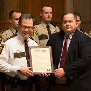 Commissioner Huffman and Sheriff Serier with Police Week Proclamation